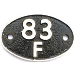 Shedplate 83F Truro Junction 1950-1963 and Barnstaple Junction 1963-1964 with a sub shed of