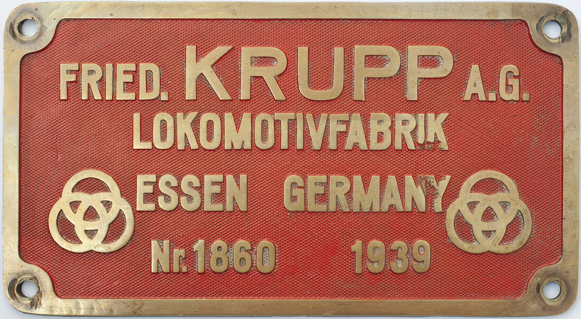 Worksplate FRIED.KRUPP A.G. LOKOMOTIVFABRIK ESSEN GERMANY Nr.1860 1939. Ex South African Railways