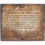 S&DJR cast iron trespass notice fully titled SOMERSET AND DORSET JOINT LINE dated August 1903 with