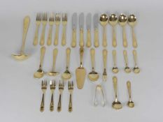 A cased set of Solingen gold plated cutlery