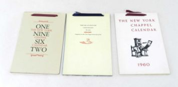 NEW YORK CHAPPEL CALENDARS for 1960, 1961, 1962. Each month is printed by a different private