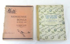 MILNE, A A, The Hums of Pooh, music by H Fraser-Smith. 4to 1929. Childish hand-colouring. With LEAR,