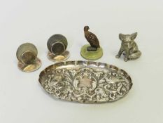 A collection of silver and plate