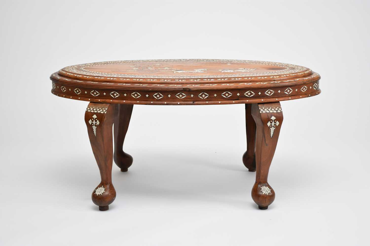 A good, late 19th/early 20th century Indian, teak occasional table, profusely inlaid - Image 2 of 3