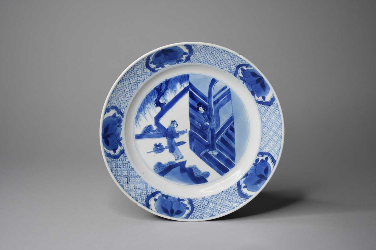 A Chinese blue and white dish, Chenghua mark but later
