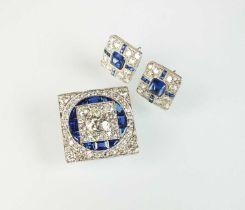 An Art Deco diamond and sapphire brooch with associated earrings