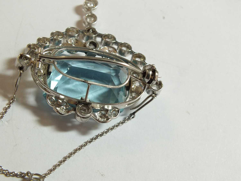 A Belle Epoque aquamarine and diamond pendant/brooch - Image 8 of 9
