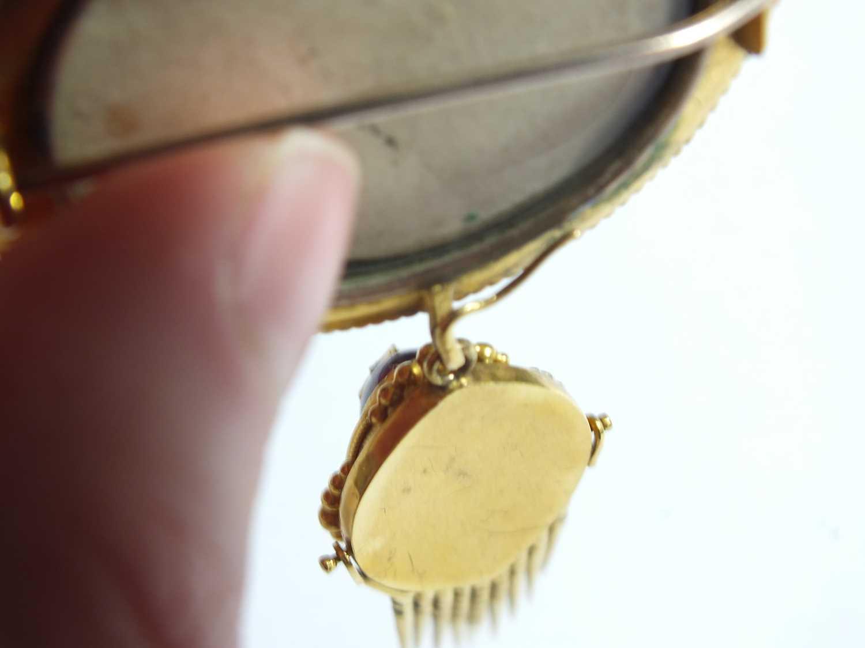 A Victorian garnet, pearl and enamel locket brooch - Image 7 of 14