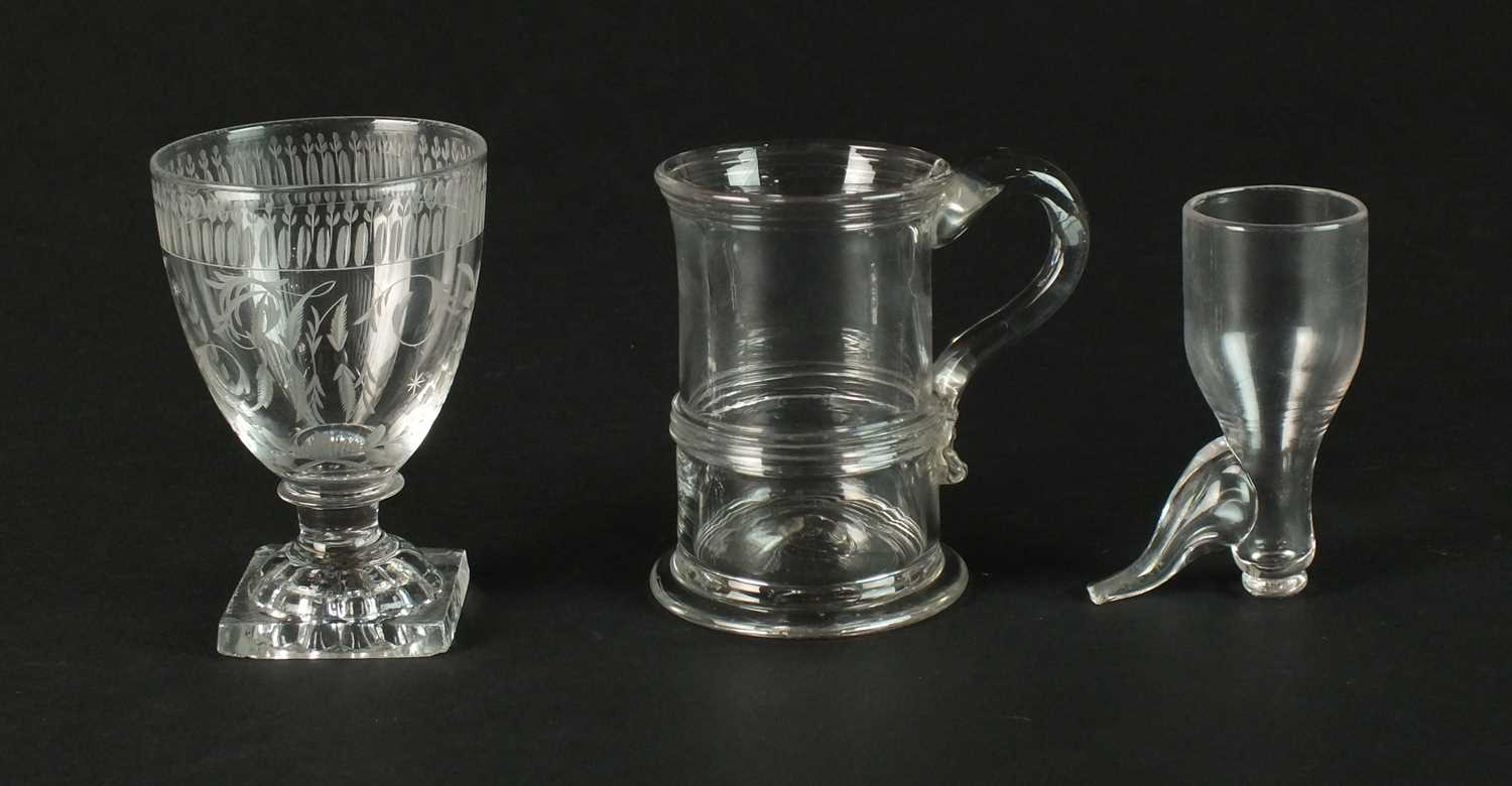 Three pieces of George III drinking glasses