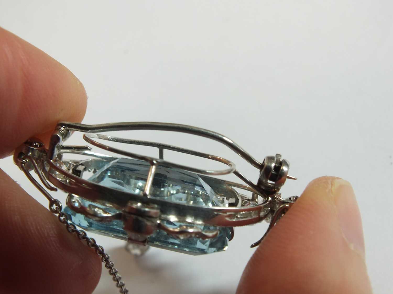 A Belle Epoque aquamarine and diamond pendant/brooch - Image 6 of 9