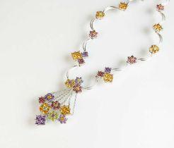 A multi-gem set floral necklace