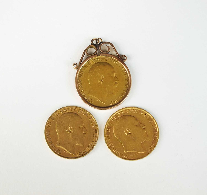 Three Edwards VII half sovereigns - Image 2 of 2