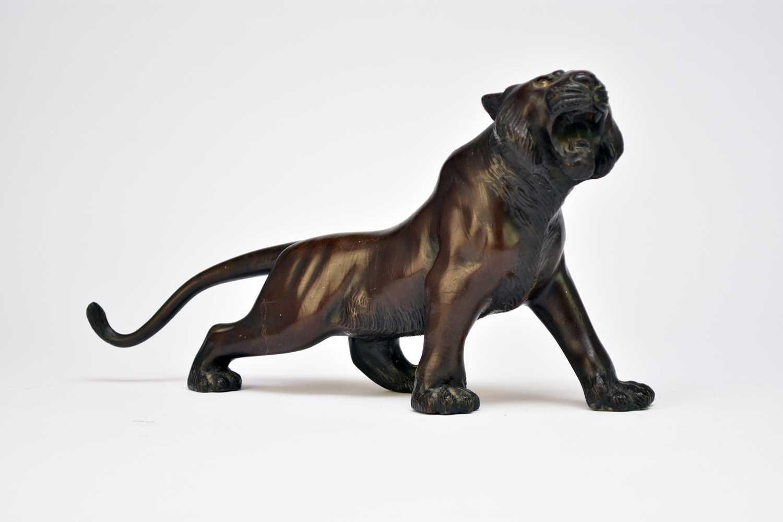 A Japanese bronze figure of a tiger, Meiji period