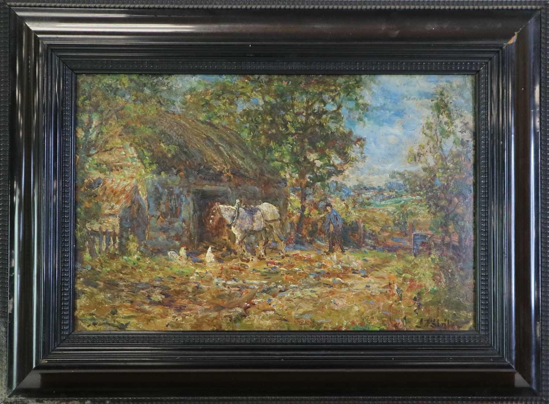 John Falconar Slater (British 1857-1937) Farmyard Scene with Carter and Horse - Image 6 of 6