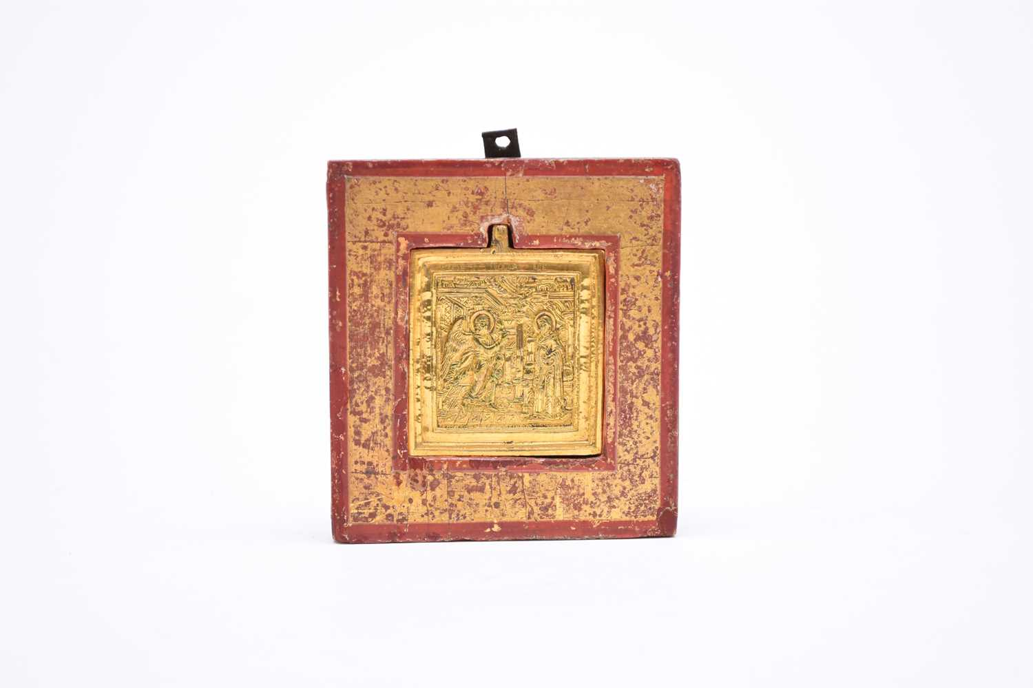 A 19th century Russian, gold coloured metal, 'portable' icon - Image 3 of 3