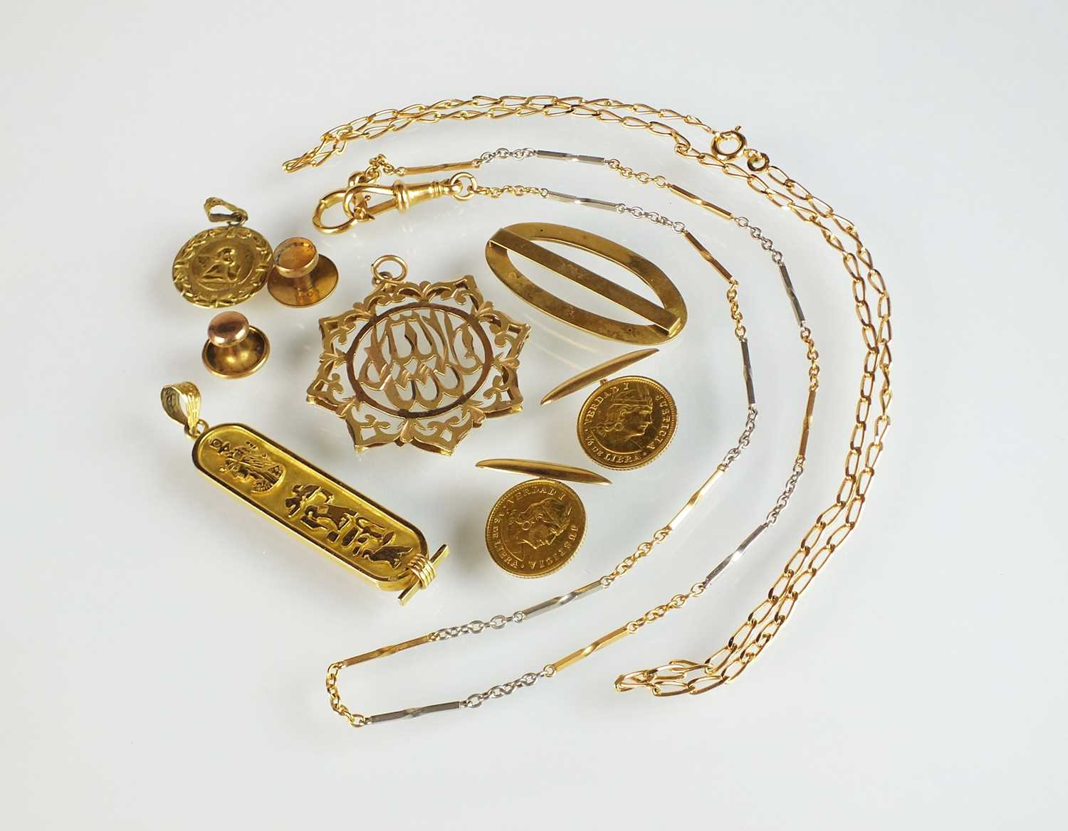 A yellow and white metal chain