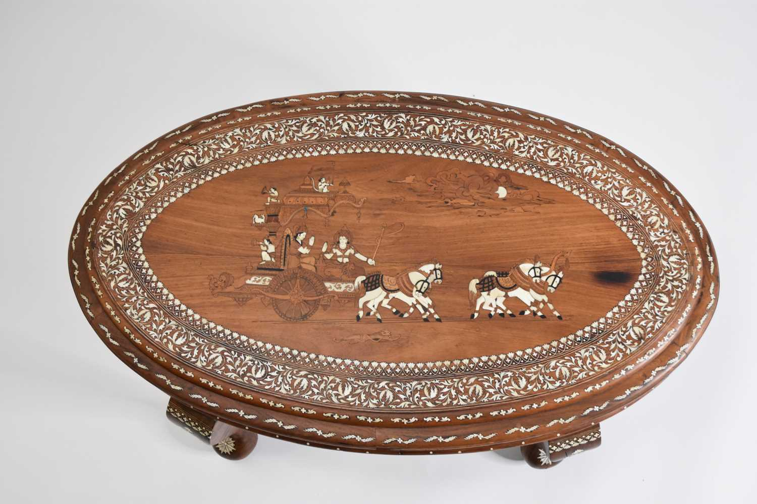 A good, late 19th/early 20th century Indian, teak occasional table, profusely inlaid - Image 3 of 3