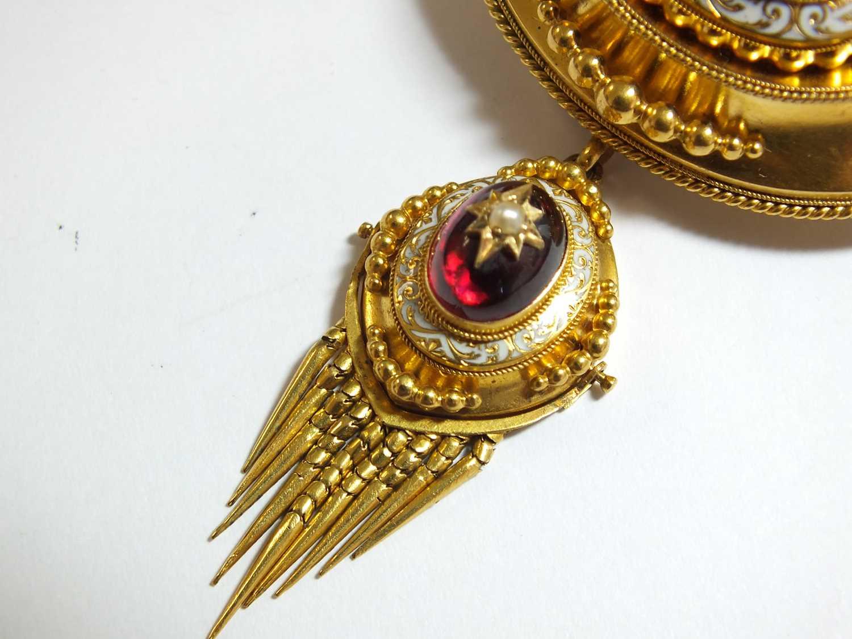 A Victorian garnet, pearl and enamel locket brooch - Image 5 of 14