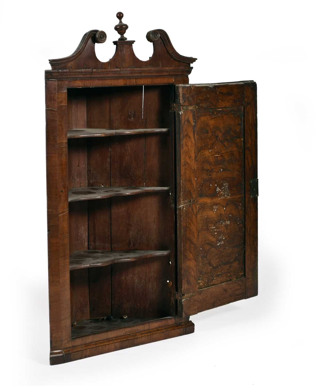 A George II walnut veneered hanging corner cupboard - Image 2 of 2