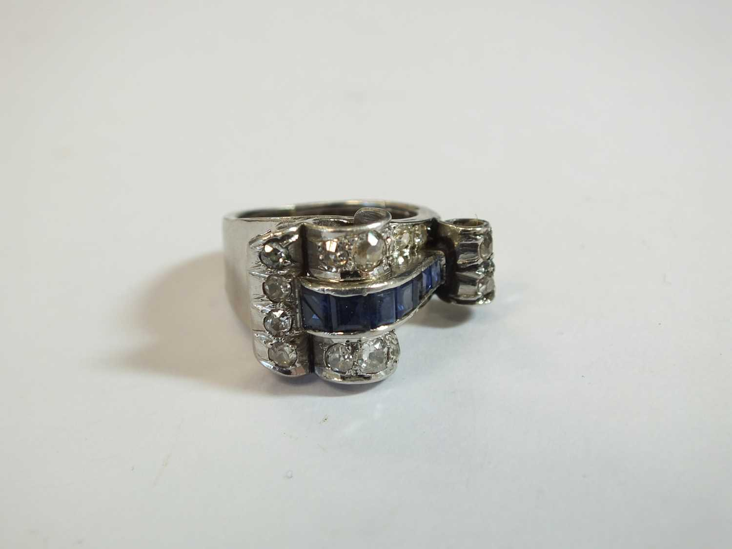 An Art Deco diamond and sapphire cocktail ring - Image 8 of 8