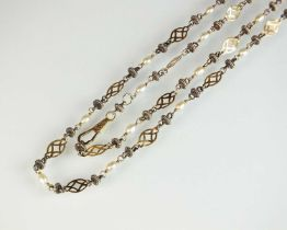 A yellow and white metal freshwater pearl set necklace