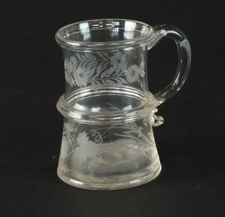 Engraved glass mug circa 1760-70
