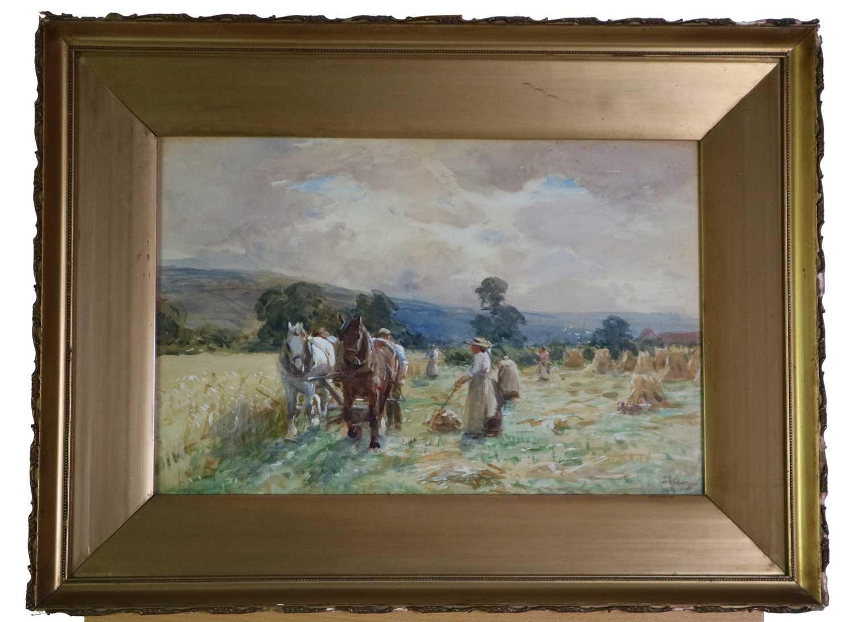 John Atkinson (1863-1924) Haymaking - Image 2 of 4