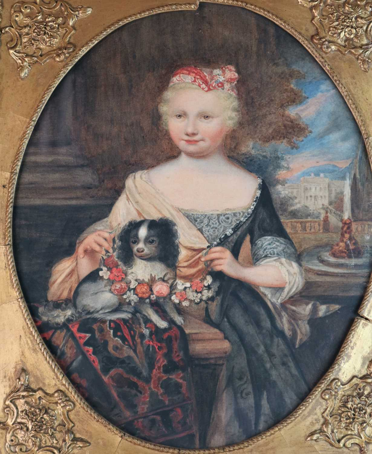 Circle of Caspar Netscher, Portrait of a Girl with a King Charles Spaniel - Image 2 of 4
