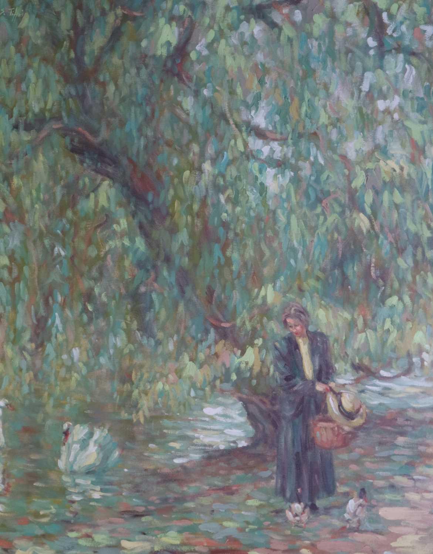Sheila Tiffin (British b.1952) Lady Feeding the Ducks