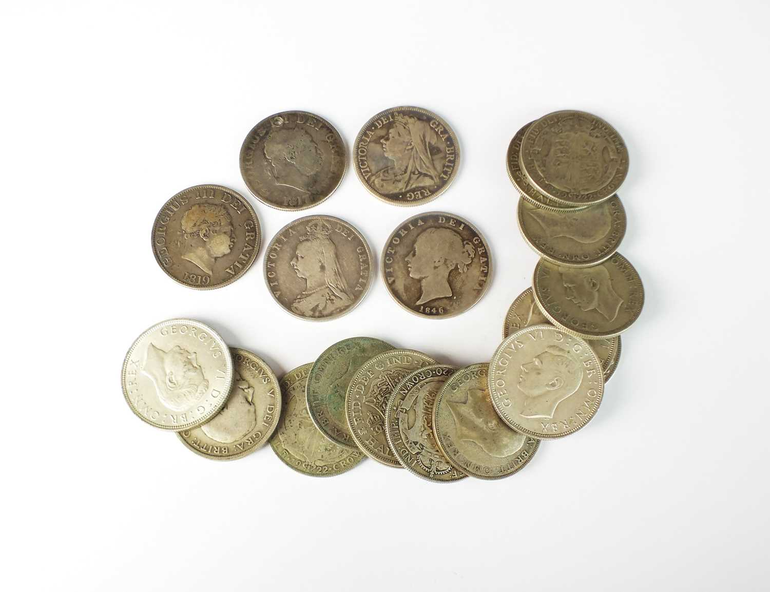 A collection of silver half crowns