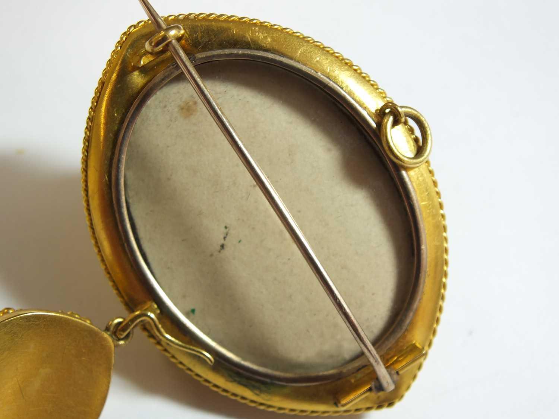A Victorian garnet, pearl and enamel locket brooch - Image 8 of 14