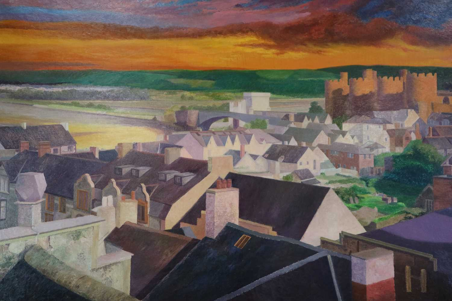 Denby Sweeting (1936-2020) Conwy Castle at Sunset from Across the Rooftops