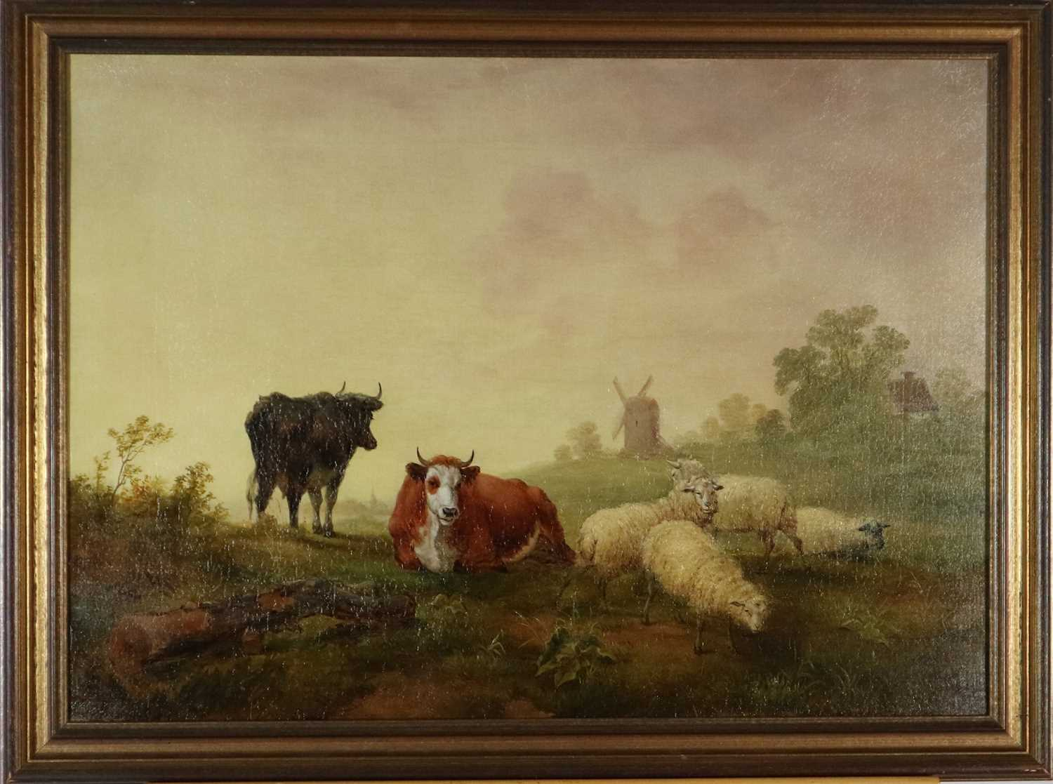 Manner of Thomas Sidney Cooper (British 1803-1902) Cattle and Sheep in Pasture oil on canvas - Image 2 of 3
