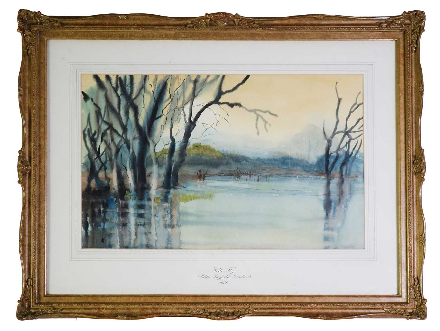 Helen Layfield Bradley (1900-1979) Nellie Fly, Watercolour of a Lakeside with Trees