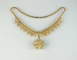 A late 19th century diamond and seed pearl necklace and pendant/brooch