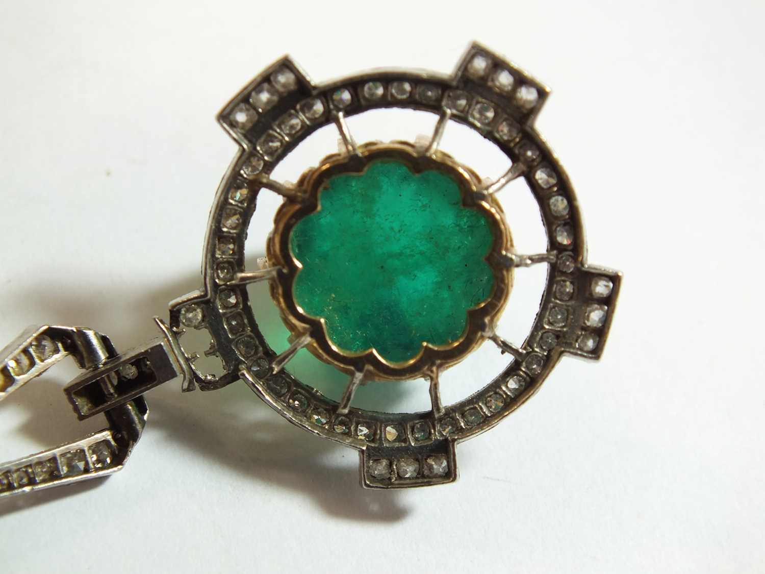 An Art Deco emerald and diamond pendant on chain - Image 6 of 14