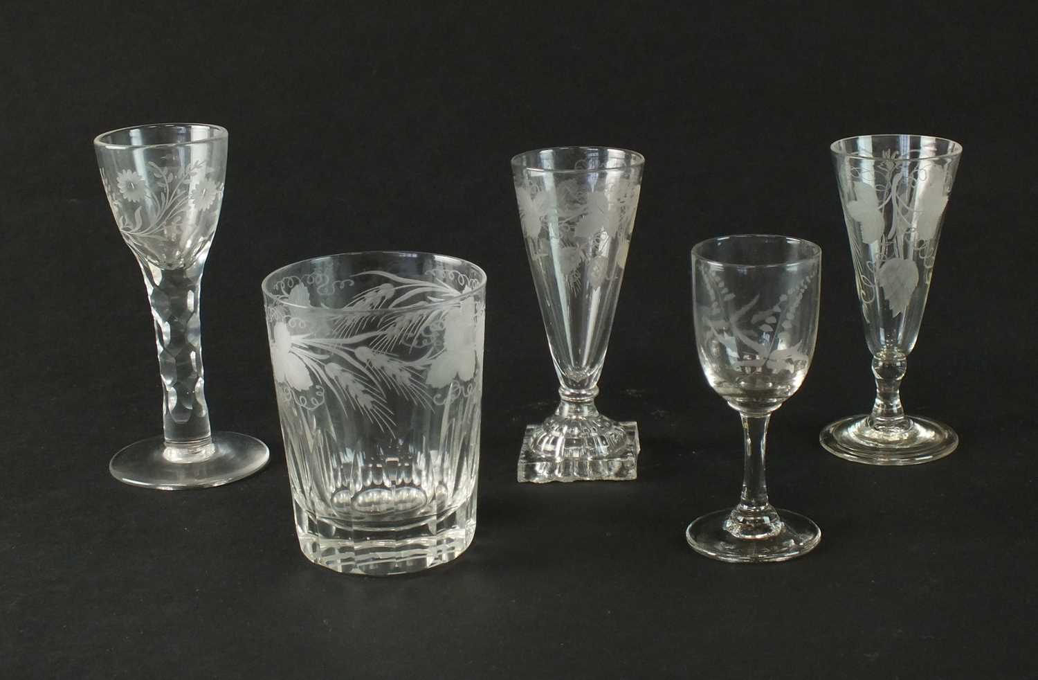 A group of George III drinking glasses