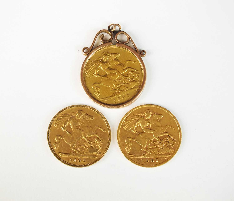 Three Edwards VII half sovereigns