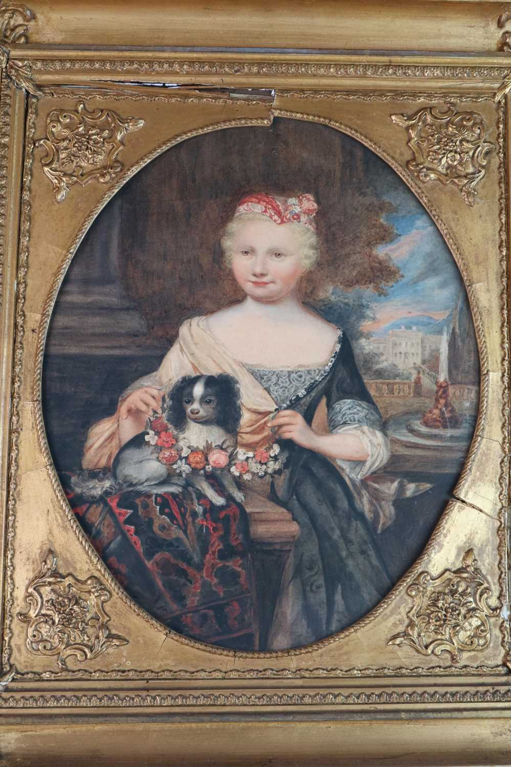 Circle of Caspar Netscher, Portrait of a Girl with a King Charles Spaniel - Image 4 of 4