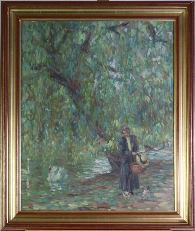 Sheila Tiffin (British b.1952) Lady Feeding the Ducks - Image 2 of 5