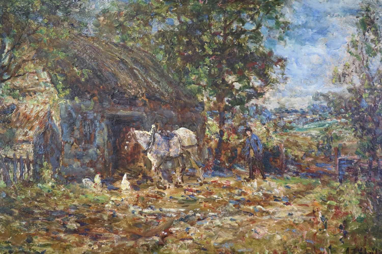 John Falconar Slater (British 1857-1937) Farmyard Scene with Carter and Horse