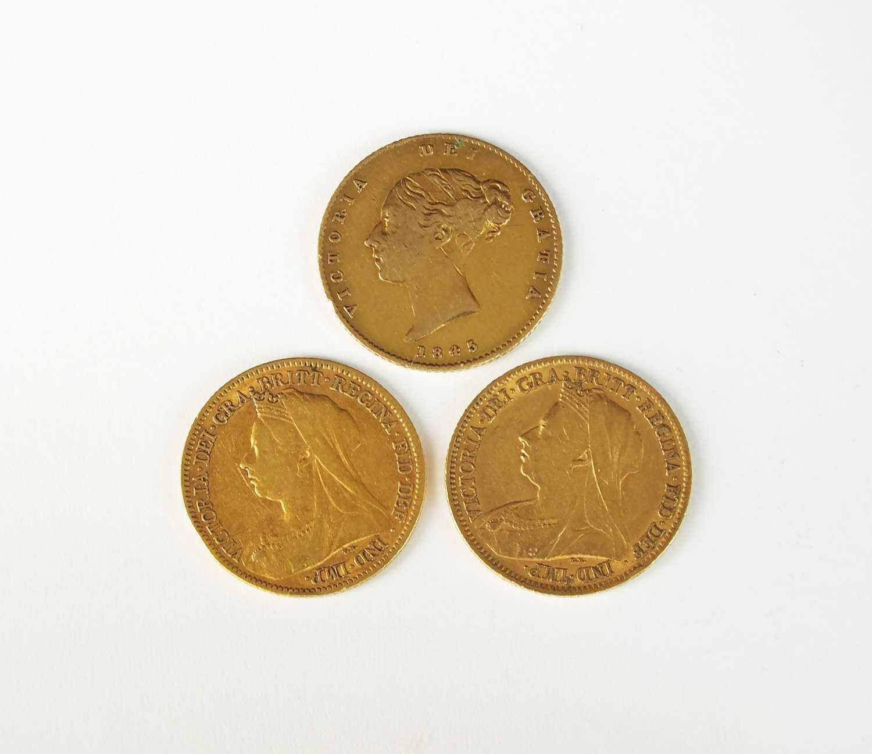 Three Victoria half sovereigns