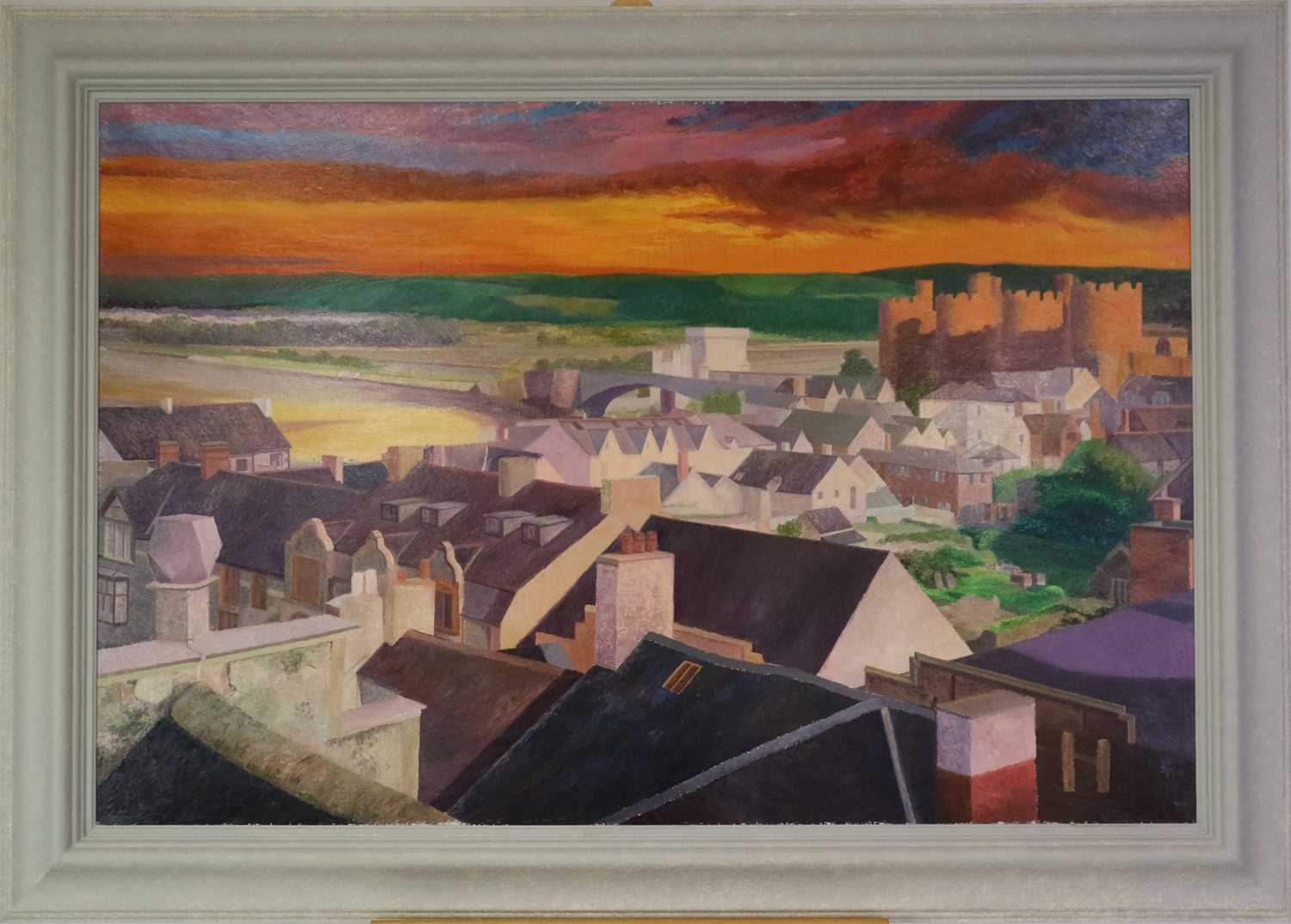Denby Sweeting (1936-2020) Conwy Castle at Sunset from Across the Rooftops - Image 2 of 3