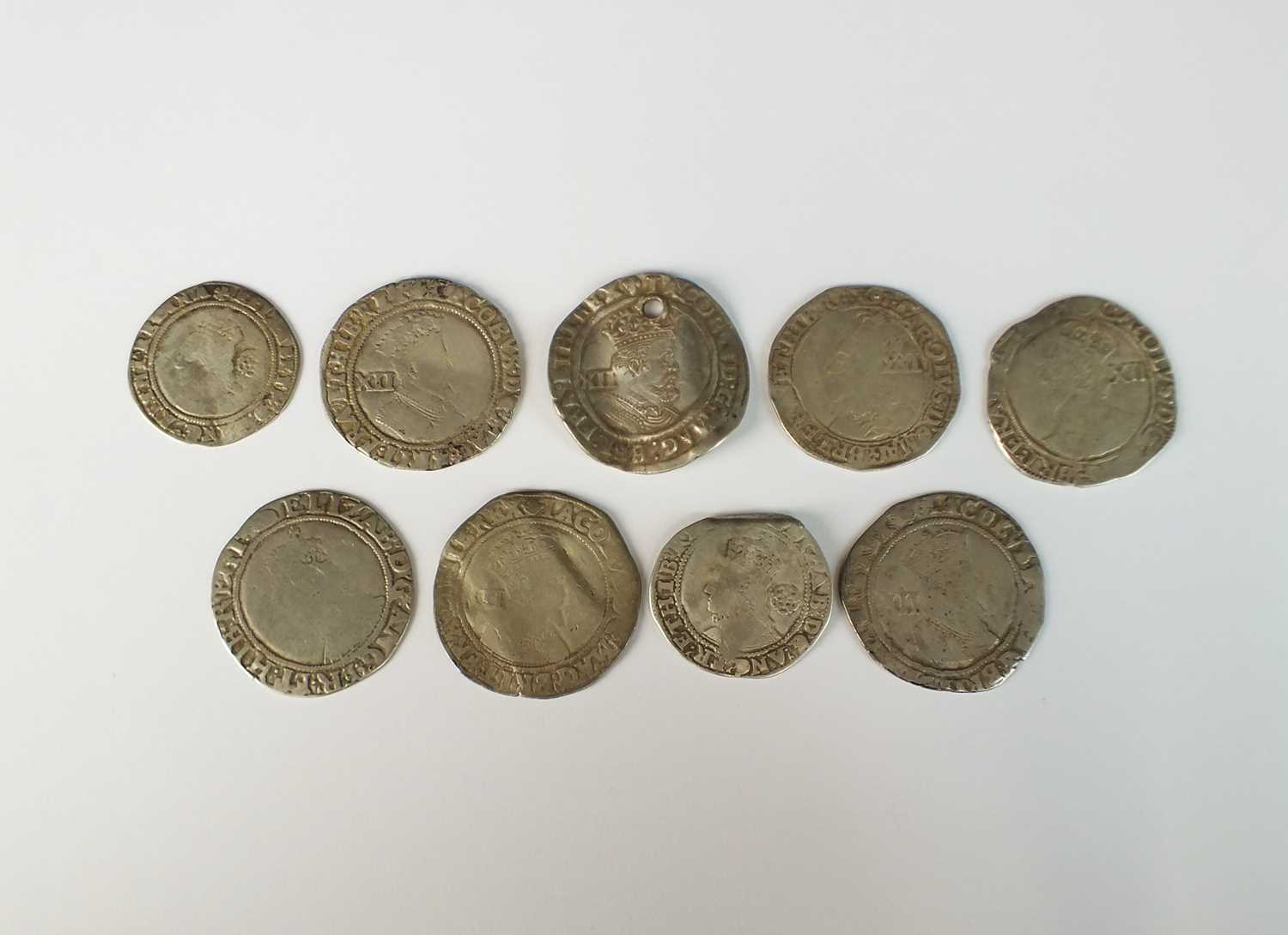 A collection of nine hammered silver coins from The Bridgwater Hoard