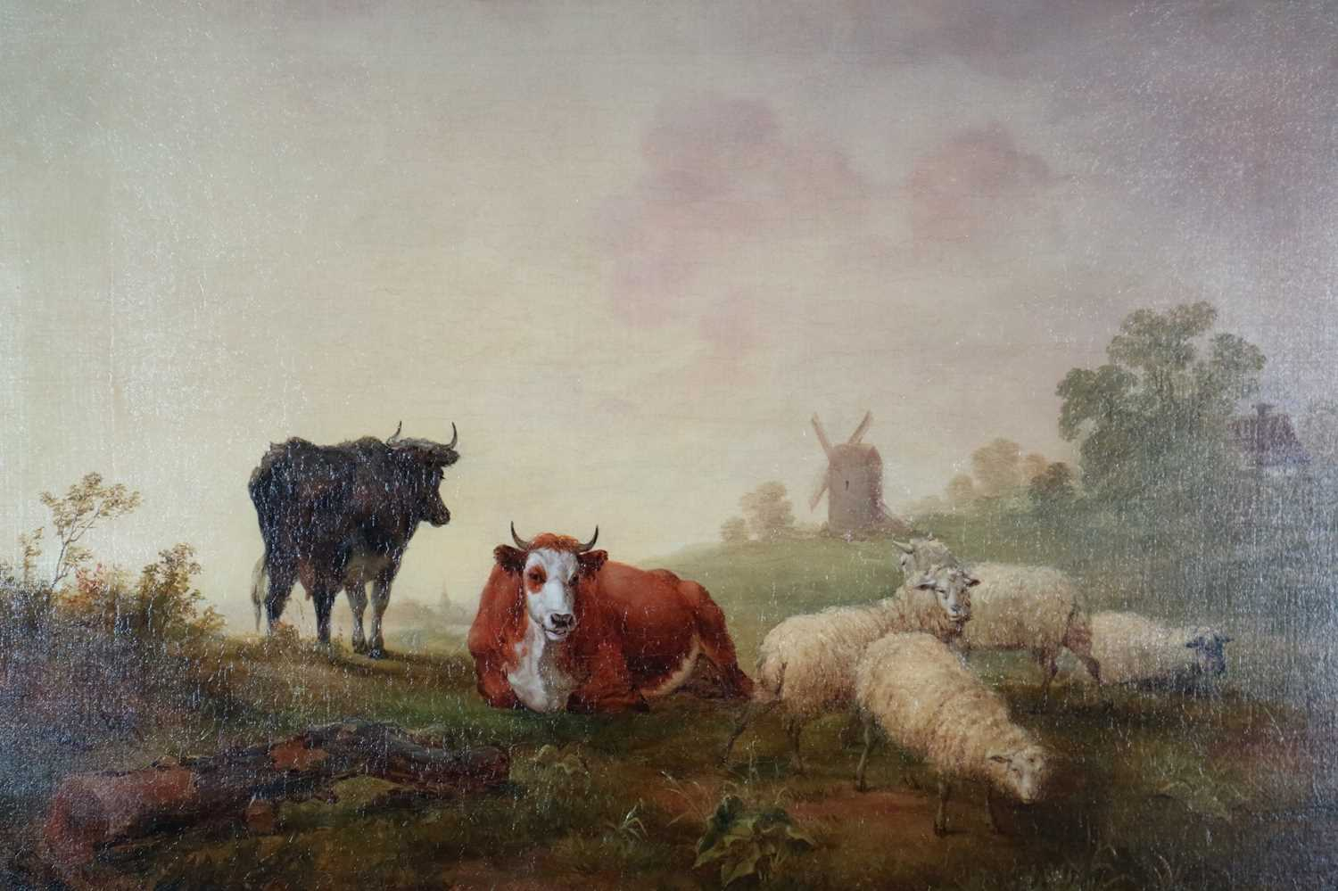 Manner of Thomas Sidney Cooper (British 1803-1902) Cattle and Sheep in Pasture oil on canvas