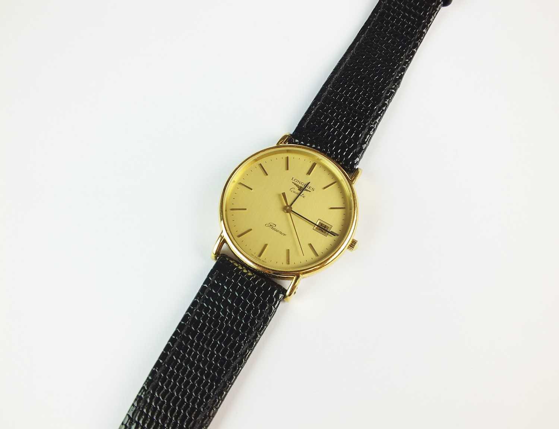 A Gentleman's gold plated Longines Presence quartz wristwatch