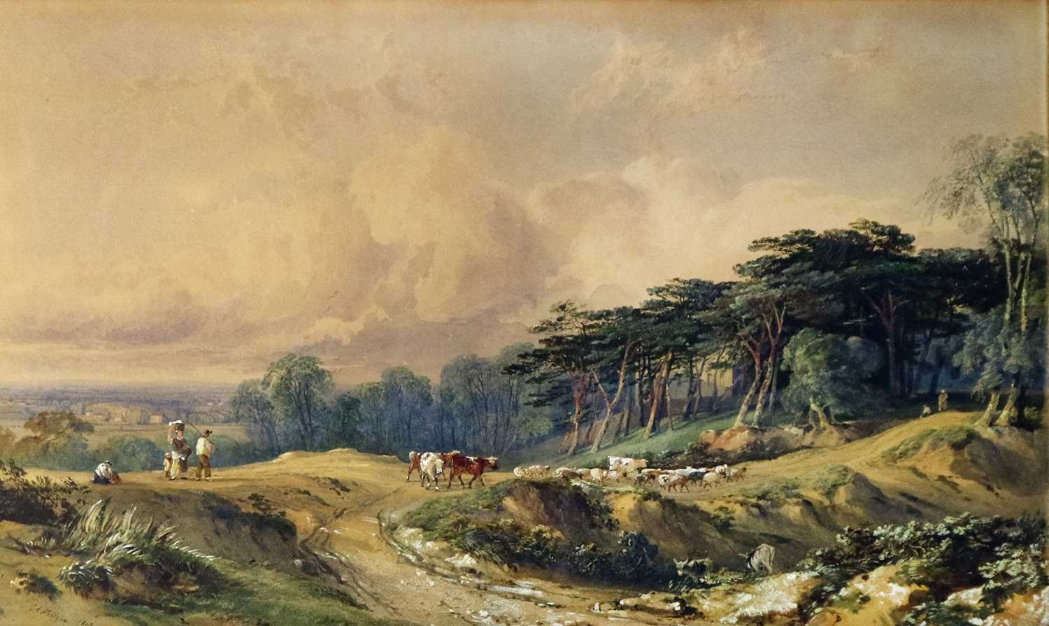 George Arthur Fripp RWS (British 1813-1896) Driving Cattle Down a Country Track