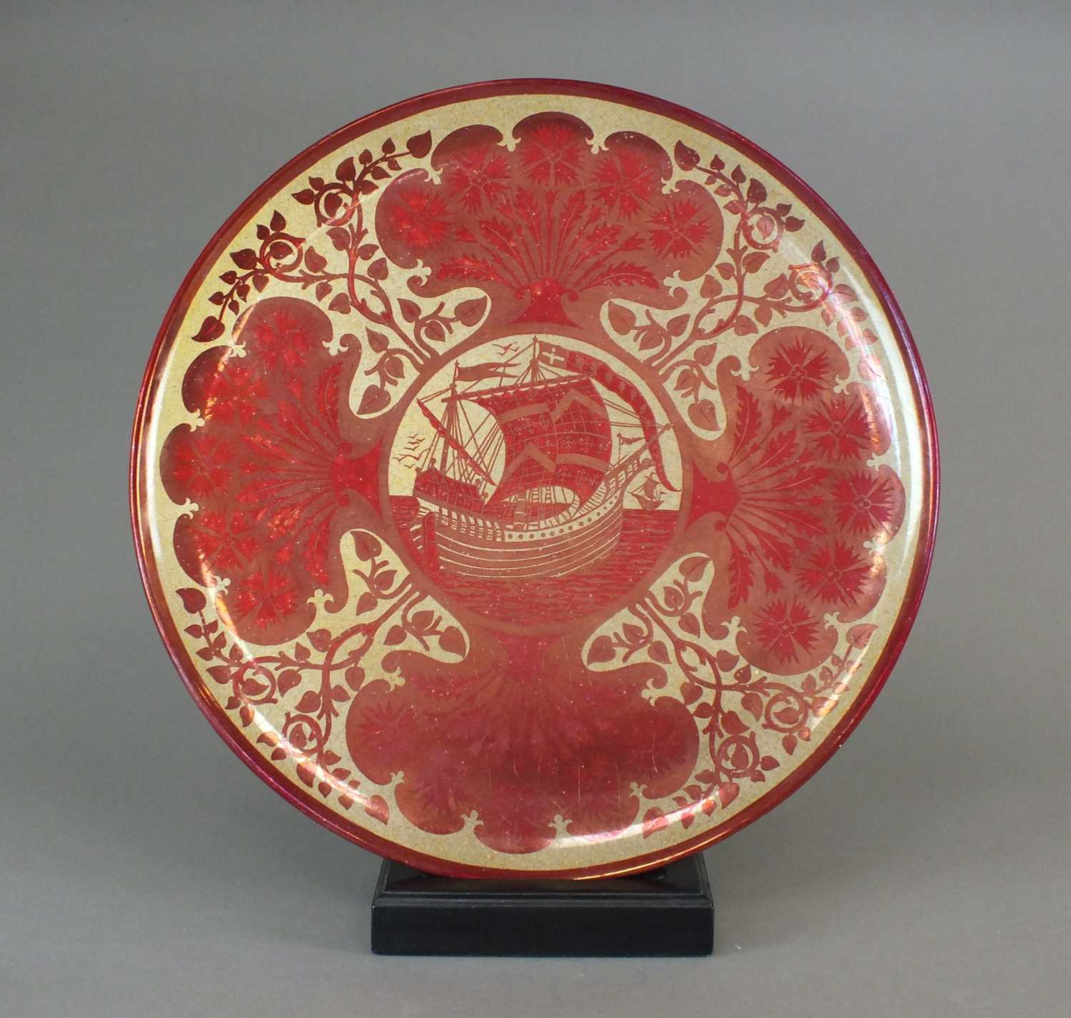 A Maw and Co ruby lustre galleon charger, circa 1880
