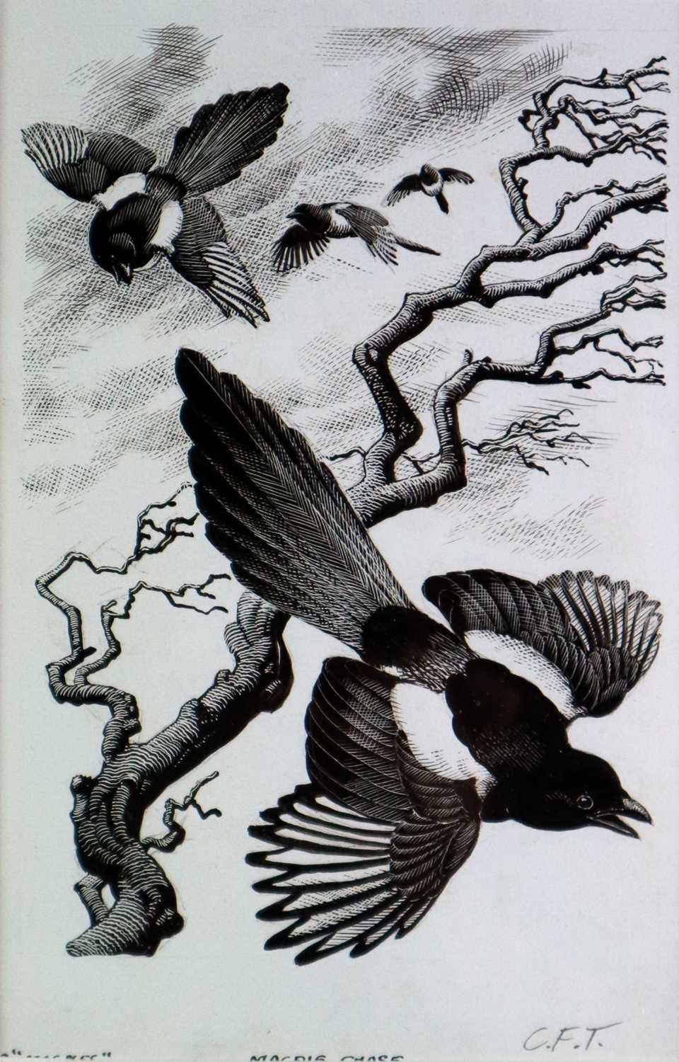 Charles Frederick Tunnicliffe OBE RA (1901-1979) Magpie Chase
