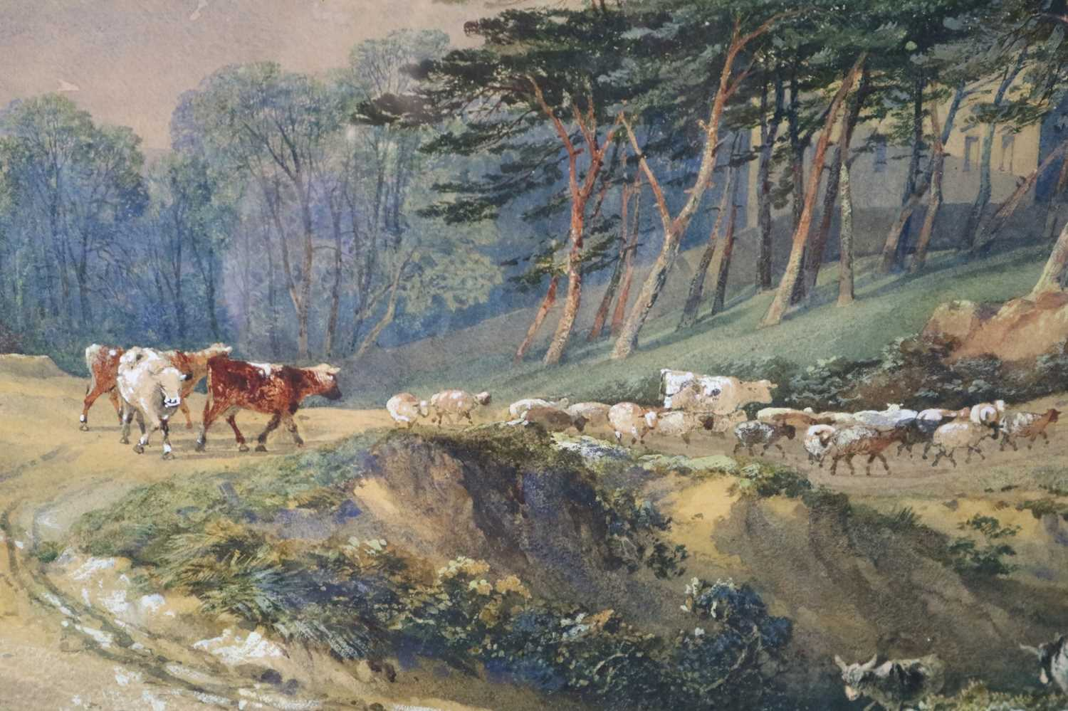 George Arthur Fripp RWS (British 1813-1896) Driving Cattle Down a Country Track - Image 3 of 5